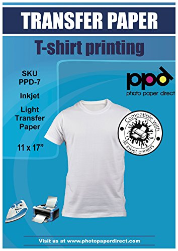 """PPD Inkjet Iron-On Light T Shirt Transfer Paper 11 x 17"""" Pack of 20 Sheets (PPD007-20)"""