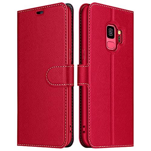 ELESNOW Hülle für Samsung Galaxy S9, Premium Leder Flip Wallet Schutzhülle Tasche Handyhülle für Samsung Galaxy S9 (Rot)