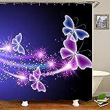 Mariposas Volando impresión Impermeable Cortina de Ducha Cortina de baño-7_180x200cm