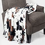Home Soft Things Cow Print Blanket Throws Animal Black White Brown Throw for Chair Bedroom Living Room Sofa Couch Bed Outdoor Double Sided Faux Fur Fleece Soft Cozy Throw Blanket, 60' x 80'