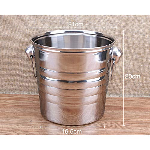 Champagne Bucket - 5l Stainless Steel Bar Ice Bucket Two Handles Champagne Wine Spit Barrel Container Ktv Club - Light Timer Metal Purse Champagne Black Queen Glass Flutes Kitchen Personalized D