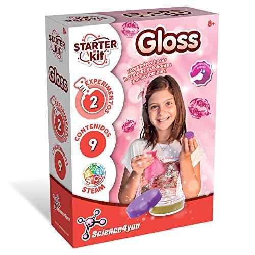Science4you Starter Kit Lipgloss – Haz Tus Propios Labiales, Juguete Científico y Educativo, Juego Cosmética, Dermatológicamente Probado, 2 Experimentos Sencillos y Divertidos para Niños 8 Años