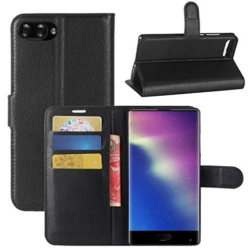 HualuBro Doogee Mix Hülle, [All Aro& Schutz] Premium PU Leder Leather Wallet Handy Tasche Schutzhülle Hülle Flip Cover mit Karten Slot für DOOGEE Mix 5.5 Inch 4G Smartphone (Schwarz)