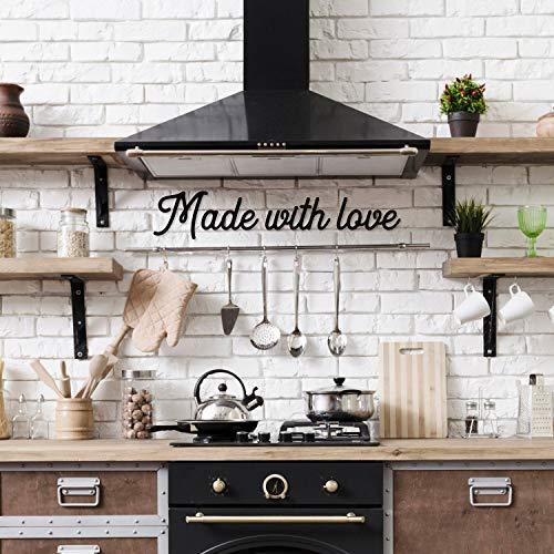 DKISEE Hecho con amor, cartel de cocina, decoración de pared de metal, pareja, arte de pared de metal, decoración de pared, 24 pulgadas, negro, SSI2908
