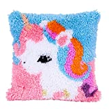 Beyond Your Thoughts DIY Latch Hook Kits Throw Pillow Cover Cute Shaggy Unicorn Rug Pattern Printed 16X16 inch, Crochet Needlework Crafts for Kids and Adults