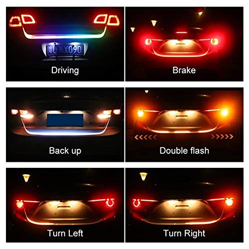 NO LOGO RGB Coche Adicional Luz de Freno dinámico Streamer Flotante Tira de LED 12v Auto del Tronco Freno de la Cola Correr Intermitente (tamaño : 120cm)