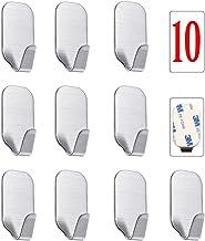 Kiemeu Ganchos Fuertes Adhesivos de 3M para Pared, Colgadores de Pared autoadhesivos sin Taladro para Cocina y baño, Perchas de Acero Inoxidable para Toallas, Paquete de 10