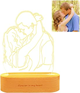 Personalized Custom Photo 3D Lamp Photo Engraving Custom Text Best Gifts Wedding Anniversary Christmas Birthday Gifts (Wood F)