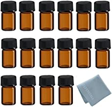 ELFENSTALL 50Pcs 2ml Oil Bottles for Essential Oils (5/8 Dram) Amber Glass Vials Bottles, with Orifice Reducers and Black Caps