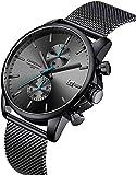 Relojes para Hombre Moda Deporte Cuarzo Analógico Negro Malla Acero Inoxidable Impermeable Cronógrafo Reloj de Pulsera, Fecha automática