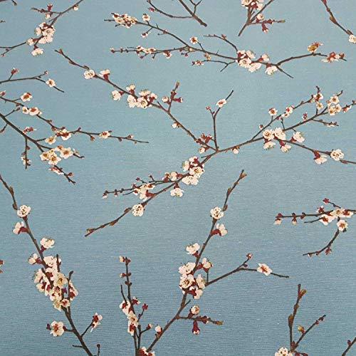 Stoff Meterware Baumwolle blau Kirschblüten Kirsche Zweige Japan Dekostoff Wandbild