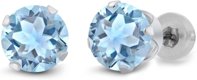 1.80 Ct Round Sky bluee Topaz 14K White gold Earrings