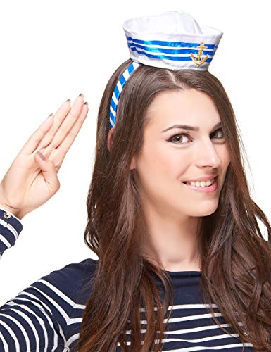 Vegaoo - Matrosin Haarreif mit Minihut für Damen - Einheitsgröße