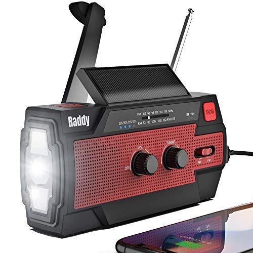 Raddy SW3 Kurbelradio Tragbares Solar Radio Notfall AM FM Dynoma Radio mit USB Handyladefunktion LED Taschenlampe und 4000mAh wiederaufladbares Batterie für Outdoor Camping, 2020 Neueste Verion