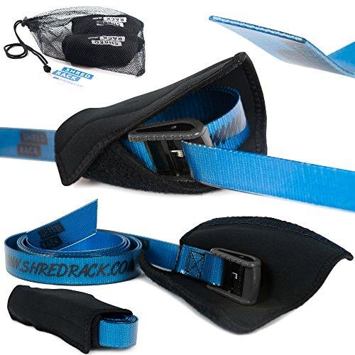 SHRED RACK Zurrgurt Premium Wasserdicht & Antirutschfunktion - 2er Set Befestigungsriemen hochwertige Spanngurte (3m Länge, blau, 200 daN)