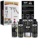 U-Pol Raptor 4 Quart Kit - Black Urethane Spray-On Truck Bed Liner Kit Custom Coat Spray Gun with Regulator - Bonus Aerosol Bedliner Can