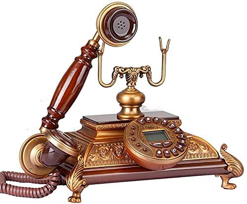 Teléfono con Cable Teléfono Retro Metal Hogar Teléfono Fijo Oficina Teléfono Fijo Madera 25 * 26 * 24 cm Teléfono inalámbrico (Color: 1#)