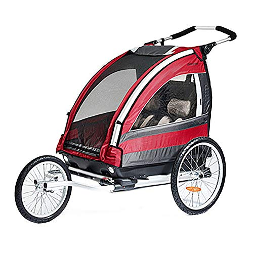 Zxcvlina 3-in-1 Double 2 Seat Bicycle Bike Trailer Jogger Stroller for Kids Children Foldable Collapsible w/Pivot Front Wheel (Color : Red, Size : Free Size)