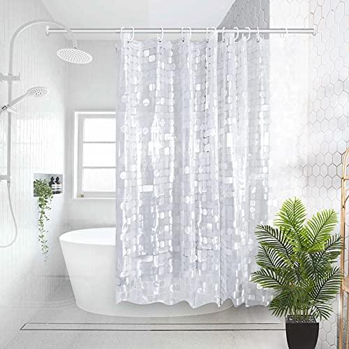 MICV Duschvorhang Durchsichtig Weiß - 100prozent Eva-Material Anti Schimmel wasserdichter Badvorhang Transparentes geometrisches Muster,Umweltfre&lich,Waschbar