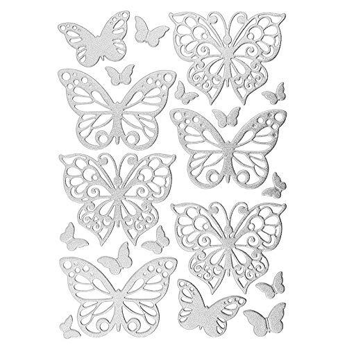 Ideen mit Herz 3-D Sticker Deluxe | Zur Hochzeit, Verschiedene Hochzeitsmotive | Erhabene Aufkleber | Bogengröße: 21 x 30 cm (Schmetterlinge | Silber)