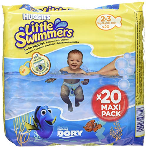 Huggies Little Swimmers S Pañales, talla 2-3 (3-8 kg), 5 paquetes de 20 (100 pañales)