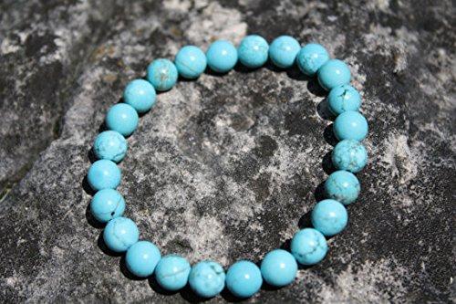 LOVEKUSH Venta al por mayor 8 mm elástico azul turquesa pulsera redonda, lisa 7 pulgadas para hombres, mujeres, gf, bf y adultos.