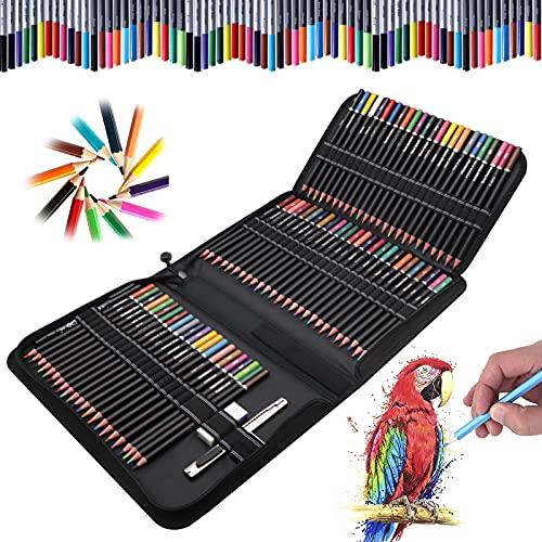 YADIMI 72 Lápices acuarelables profesionales, 76 Pieza Set de Dibujo Artista Kit con Lapices de Colores, Lápices de Dibujo y Bosquejo Material de dibujo, Ideal para Artistas, Adultos y Niños