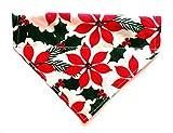 Big Bright Christmas Poinsettia Flower Reversible No Tie Slip Over the Collar Cat Dog Bandana Neckwear