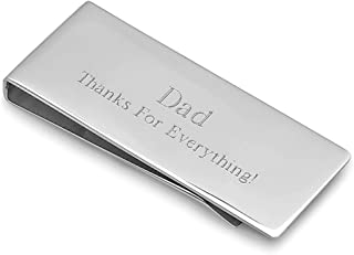 | Personalized Streamline Money Clip | Free Custom Engraving | Stainless Steel Brush Silver | French Fold Style | Wallet Alternative | Securely Holds Up to 15 Folded Bills