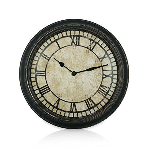 Thumbs up BACKCLOCK Rückwärtslaufende Uhr Antikes Design, Kunststoff, beige/schwarz, 28.5 x 28.5 x 5 cm