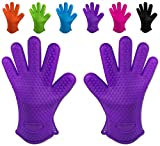 Belmalia 2 Backhandschuhe, Silikon, NEU: noch hitzebeständiger, Grillhandschuhe, Topflappen, Ofenhandschuhe Lila Violett