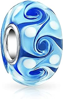 Blue Swirl Murano Glass Charm 925 Sterling Silver Bead Fit European Brand Charms