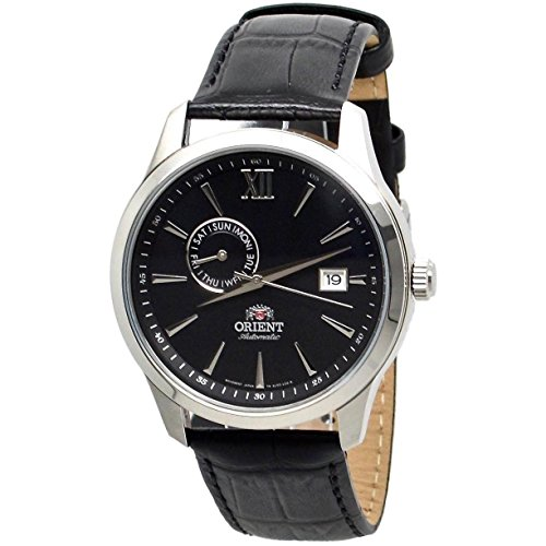 Orient Men's 43mm Black Leather Band Steel Case Automatic Watch FAL00005B0