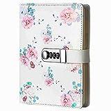 Diario Cuaderno de Cuero,Cuaderno de Notas Vintage Cuadernos de Viaje con Contraseña de Bloqueo,A5 NPN112,Flores