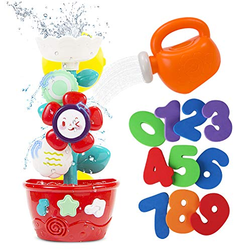STEAM Life Flower Bath Toys for Toddlers Bathtub Toys for Toddlers Babies Kids 2 3 4 Years with Bath Tub Toys Watering Can and Foam Numbers Waterfall Flower Baby Bath Toy for Toddlers Girls and Boys