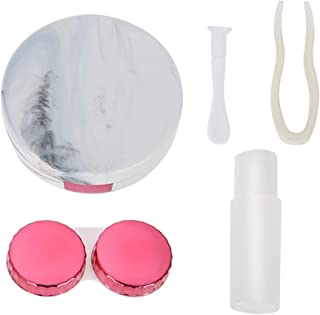 Contact Lens Case Marble Contact Lens Box, Portable Eye Care Kit Container with Mirror, Contact Lens Stick, Tweezers, and ...