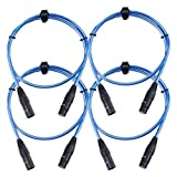 Pronomic Stage XFXM-Blue-1 Câble Micro XLR 1m bleu métallique Lot de 4