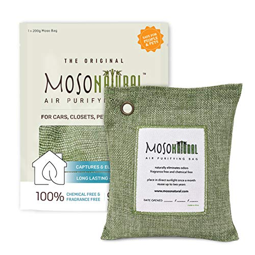 MOSO NATURAL Air Purifying Bag 200g. Odor Eliminator, Odor Absorber for Cars and Closets. Sage Linen Color