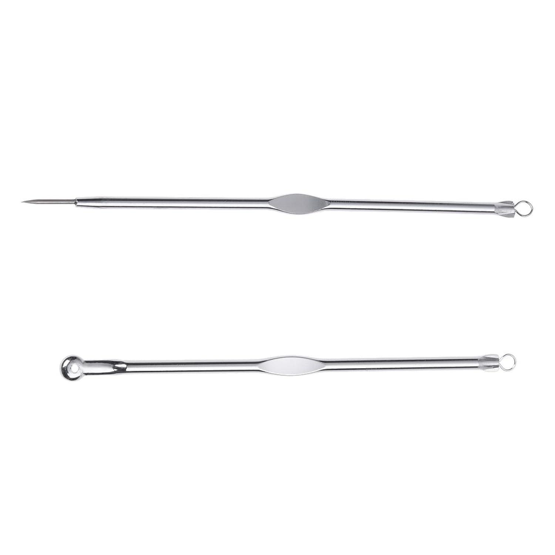 WOVELOT ステンレススチールブラックヘッド、ミッシュ、にきび抽出リムーバー針+クリップ