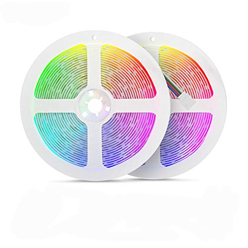 [Sync with Music] 32.8ft RGB LED Strip Lights with Remote 5050 10m Color Changing Lights with 12V Power Supply + Control Box, Ideal Lights for Bedroom, Party Decorations (Pack of 2 5m LED Light Strip)