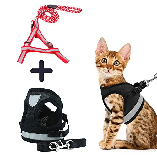 HIFEOS Cat Harness - Retractable Dog Leash Set of 2, Escape Proof Pet Harnesses with Reflective Strap, Soft Mesh Walking Jacket for Kitten, Dog & Puppies