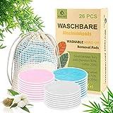 Abschminkpads Waschbar 26 Stück Wiederverwendbare Wattepads Bambus, Abschminktücher aus Bambus & Baumwolle mit Wäschebeutel - Makeup Entferner Pads - Umweltfreundlich, Zero Waste für Gesichtsreinigung