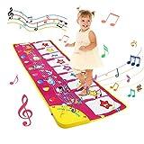 LEADSTAR Alfombra Musical, Musical Tapete para Bebé, 100x36cm Teclado Alfombra de Piano de Suelo, 8 Sonidos Animales y 2 Modos Musical Tapete Alfombrilla Educativo Juguete para Niños