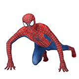 QWEASZER Classico Peter Parker Spider-man costume Spiderman costume Cosplay zentai Costume adulto Halloween Fancy Dress Party movie Costume Puntelli,Red-100~115cm