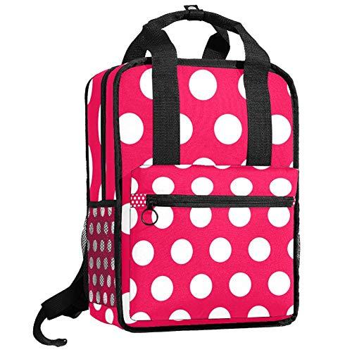 Reiserucksack Computertasche Student Bookbag Casual Handtasche Geschenk für Männer & Frauen Click Dot Weiß