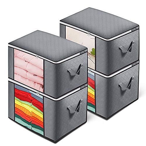 TYLINK Faltbare Aufbewahrungstasche Mit Großem Fassungsvermögen für Kleidung und Bettwäsche, 4er-Pack, Grau (60 * 40 * 35cm)