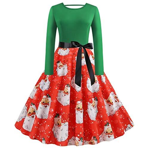 ZHANSANFM Weihnachtskleider Damen Langarm Kleider Frauen Geschenk Vintage Christmas Print Partykleid Club Karneval Kostüme Abendkleid Elegant Weihnachten Bowknot Swing Festlich Kleid (S, Grün)
