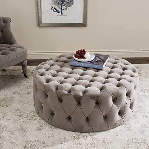 Safavieh Mercer Collection Charlene Taupe Tufted Ottoman