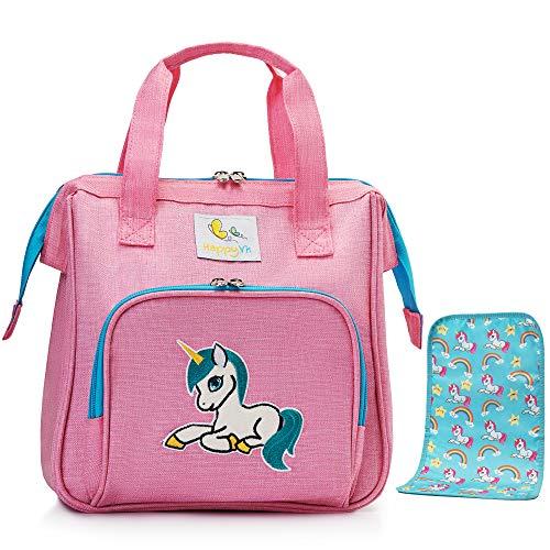 HappyVk - Bolsa de pañales para muñecas con cambiador de muñecas- Bordado de unicornio- Pulsera de lentejuelas reversible incluida- Accesorios para muñecas- Conjunto de bolsa cambiadora de muñecas