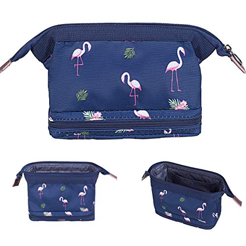 Makeup Bag/Travel Cosmetic Bags/Brush Pouch Toiletry Kit Fashion Women Jewelry Organizer with Zipper Make Up Carry Case Pencil Holder Portable Cube Purse (Navy Blue Flamingo)